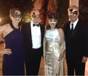 Vanessa, Chris, Regina and Vincent Morales at the 2015 Fort Bend Chamber of Commerce's Chairman's Masquerade Ball.