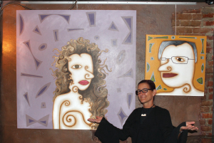 Kolkmeier's retrospective exhibit at BR Vino featured paintings of some members of the community including Patti Parish-Kaminski and Bob Vogelsang.