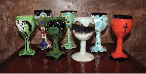 Kolkmeier's ceramic goblets feature an array of colors and unique designs.