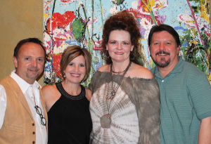 Charlie and Kristin Weiss with Patti and Tim Kaminski at Charlie's exhibit at the Vogelsang Heritage Hall.