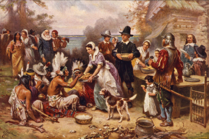 Now a traditional holiday in American life, the first Thanksgiving was a simple celebration of the Pilgrims' first corn harvest and an expression of gratitude to the Indians, who had taught them how to plant and fertilize their crop. Photo from Encyclopedia of Discovery and Exploration: Rivers of Destiny.