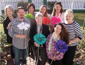 "The ""flower power"" Lone Star Stomp Committee: Claire Rogers, Billie Van Slyke, Juliane Mahlmann, Keely Knipling, Tim Kaminski, Ann Werlein, Kathy Kubelka and Daniela Abrego."
